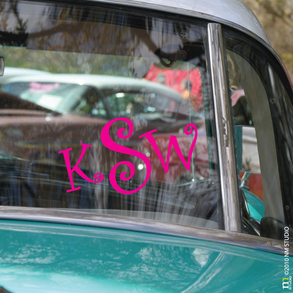 Curly Monogram Car Decal