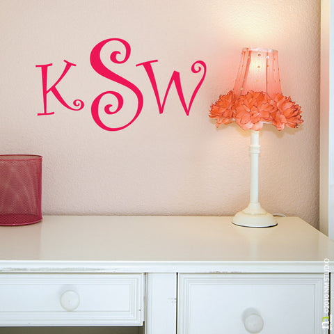 Monogram Initial Wall Decals Cling Creative Living - Monogram wall decals cheap