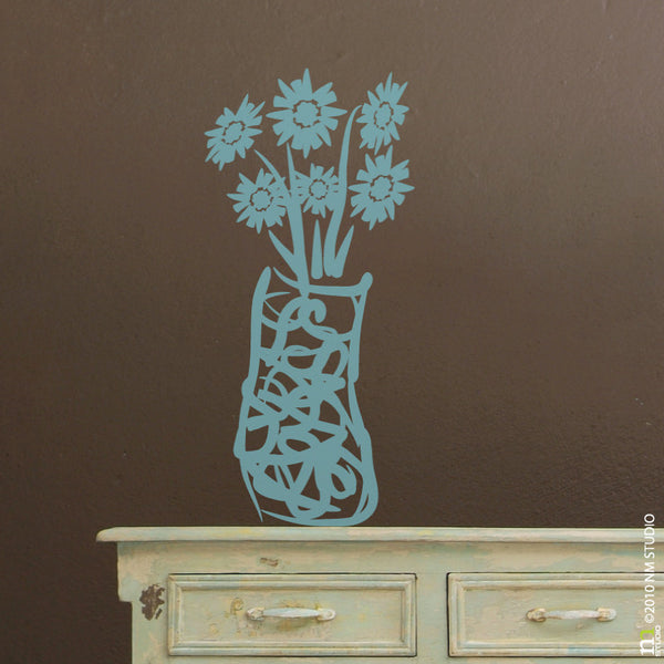 Daiseis in Vase Floral Flowers Wall Decal