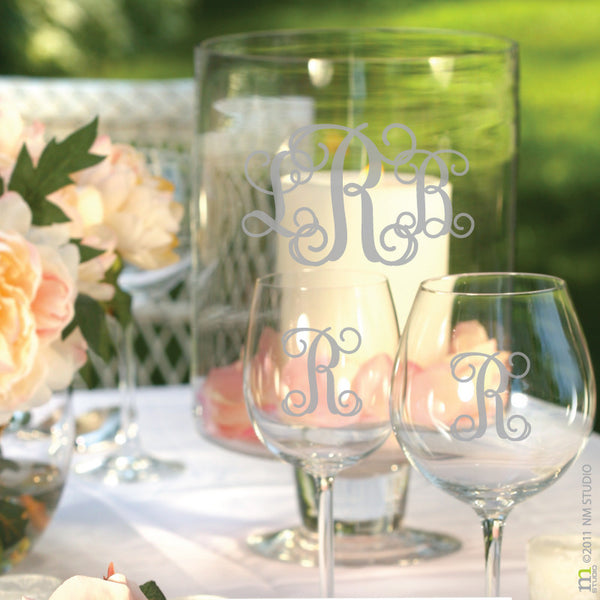 Entwined Monogram Decal Wedding Glass Centerpiece Decorations