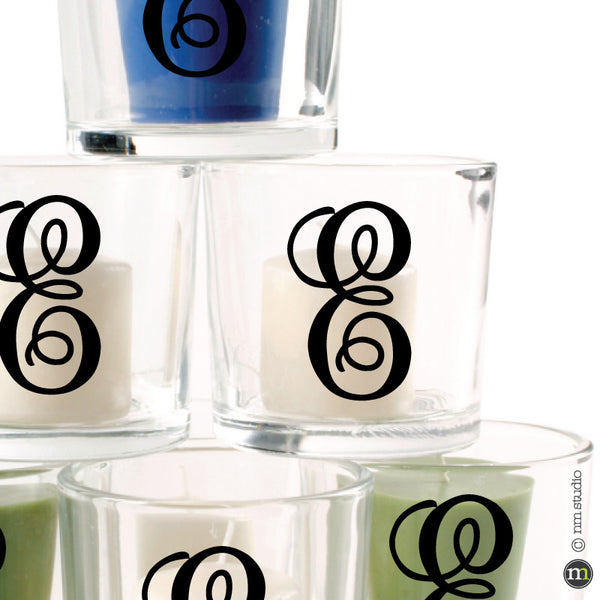 Fancy Initials Decal Votive Glassware Party Small Vinyl Letters
