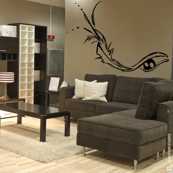 Gaze Feather Fashion Modern Face Wall Decal