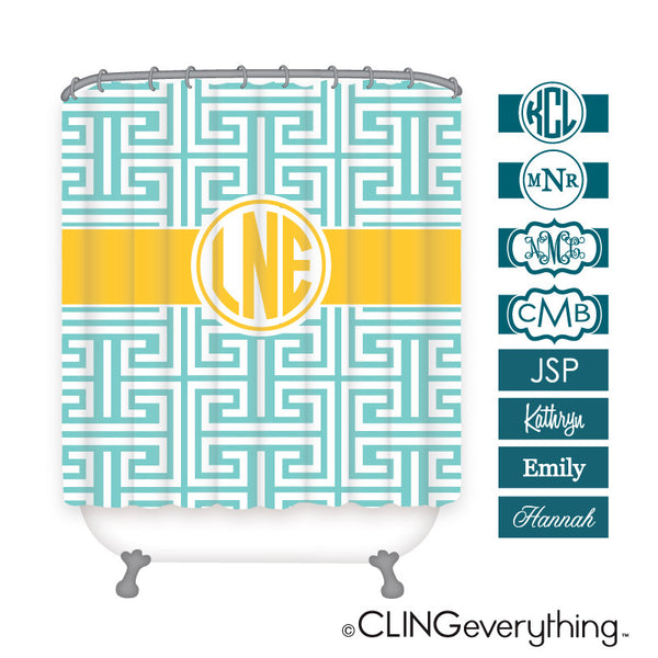 Greek Key Shower Curtain Personalized Monogram, Initial, Name