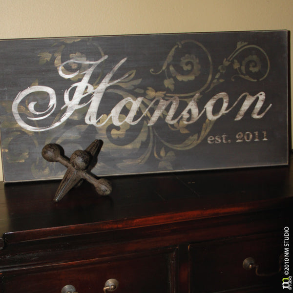 Hanson Personalized Family Name Custom Wood Sign Wall Art Handmade