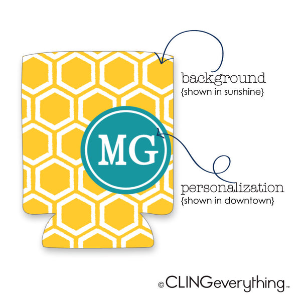 Honeycomb Koozie Personalized Monogram, Initial, Name Options
