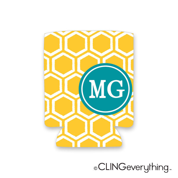 Honeycomb Koozie Personalized Monogram, Initial, Name