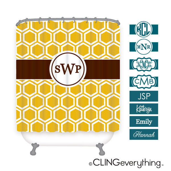 Honeycomb Shower Curtain Personalized Monogram, Initial, Name