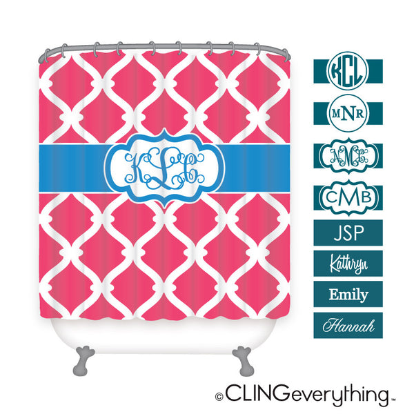 Link Shower Curtain Personalized Monogram, Initial, Name