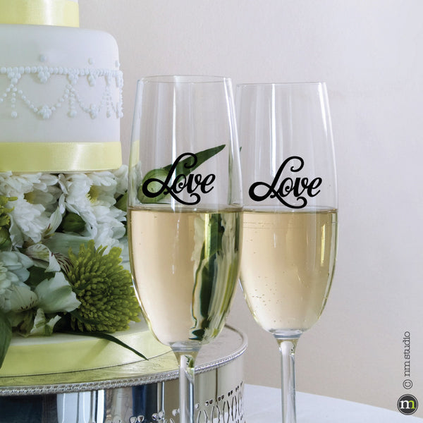 Love Decal Decorative Vinyl Decals Wedding Party Glassware