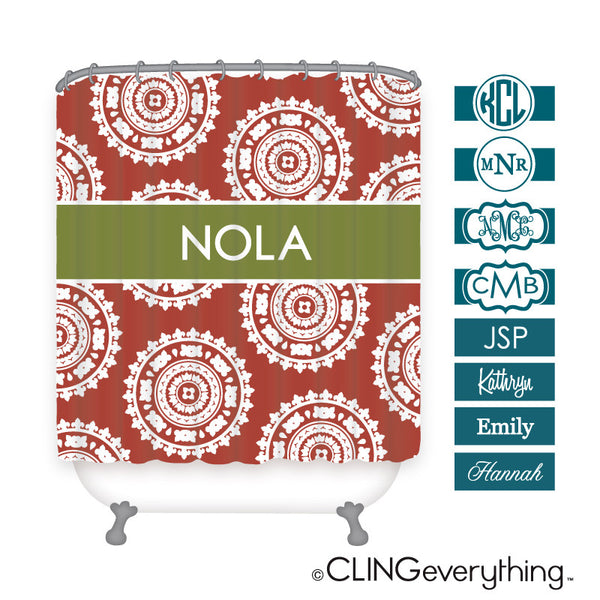 Medallion Shower Curtain Personalized Monogram, Initial, Name