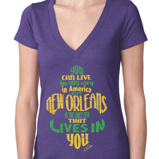 New Orleans Lives in You Mardi Gras V-Neck Tee