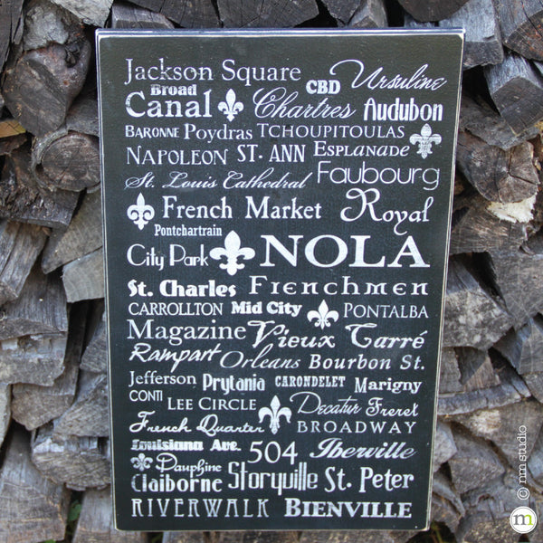NOLA New Orleans Subway Wood Sign Street Neighborhood Decor Wall Art Handmade