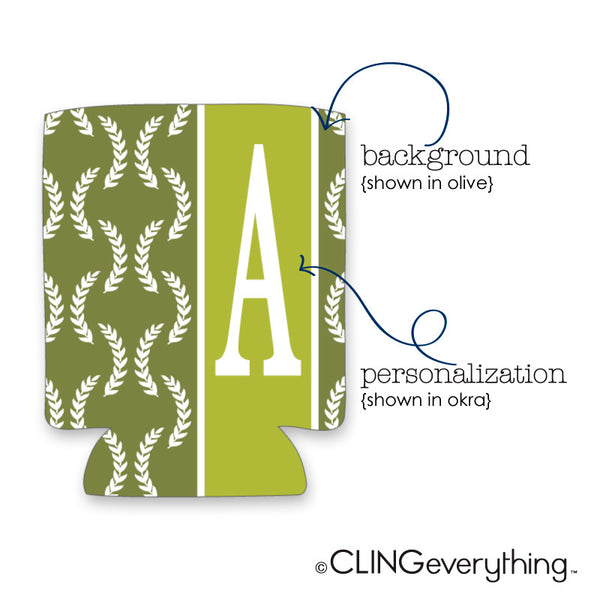 Olive Leaf Koozie Personalized Monogram, Initial, Name Options