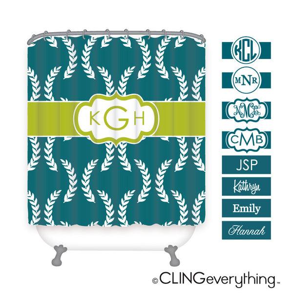Olive Leaf Shower Curtain Personalized Monogram, Initial, Name