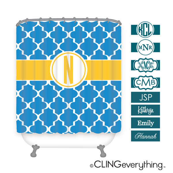 Quatrefoil Shower Curtain Personalized Monogram, Initial, Name