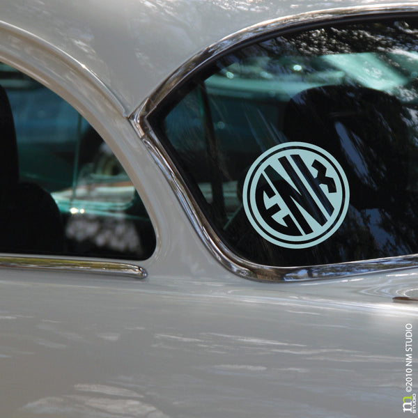 Rimmed Circle Monogram Car Decal