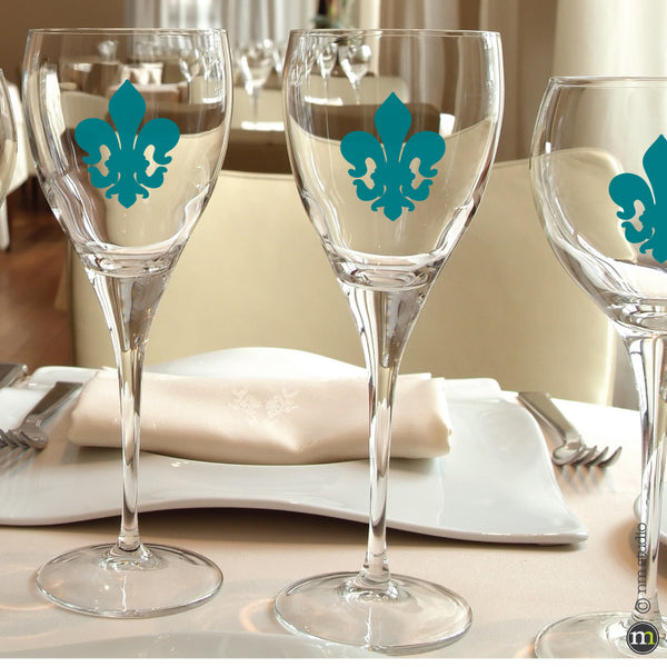 Robertson Fleur De Lis Decal Glassware Party Favor Wedding