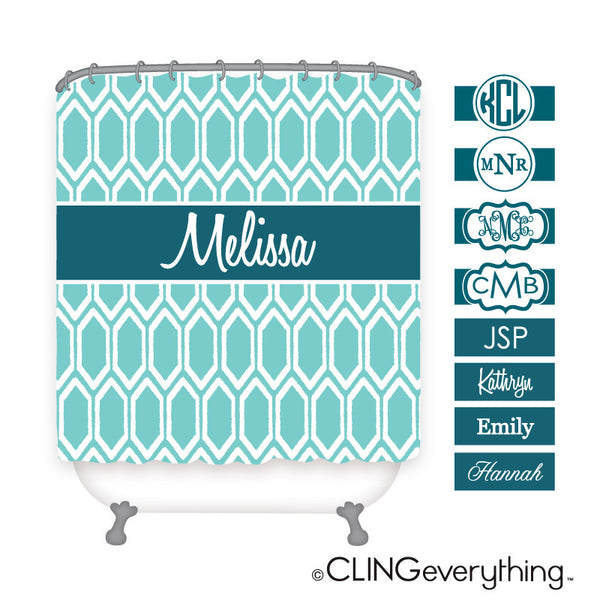 Ruby Shower Curtain Personalized Monogram, Initial, Name