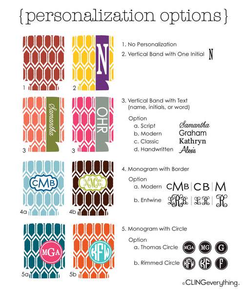 Ruby Koozie Personalized Monogram, Initial, Name Options