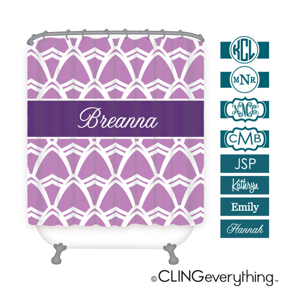 Seaside Shower Curtain Personalized Monogram, Initial, Name