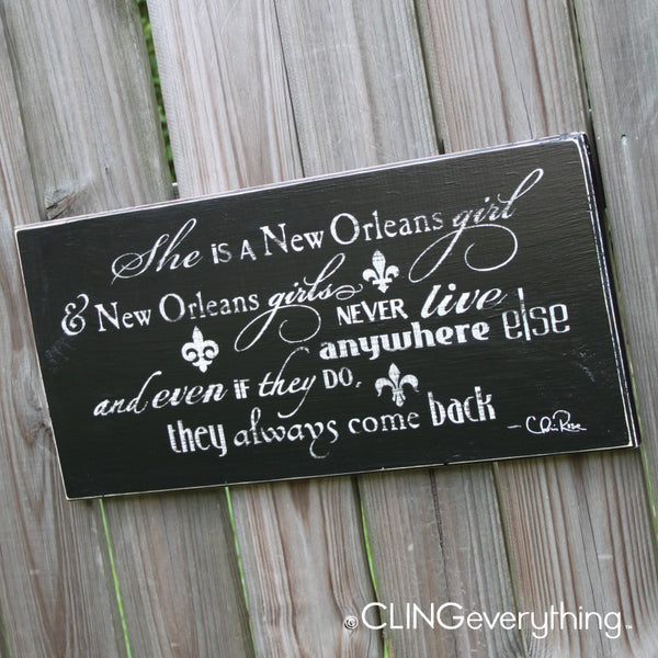 She is a New Orleans Girl Wood Sign Wall Art NOLA Chris Rose Handmade