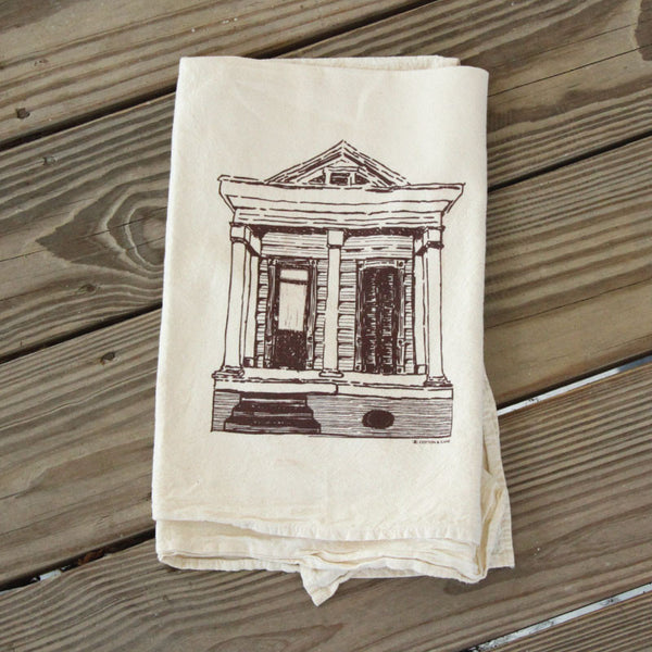 New Orleans Shotgun House Flour Sack Tea Towel