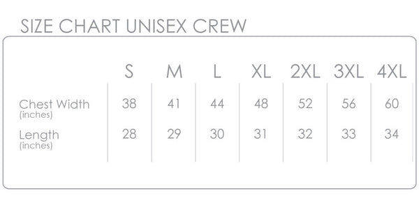 CLING Creative Living Crew Size Chart