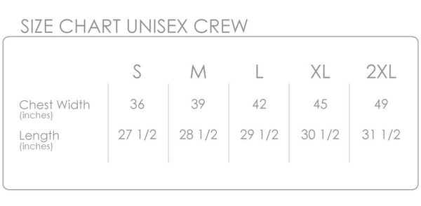 CLING Creative LivingCrew Size Chart