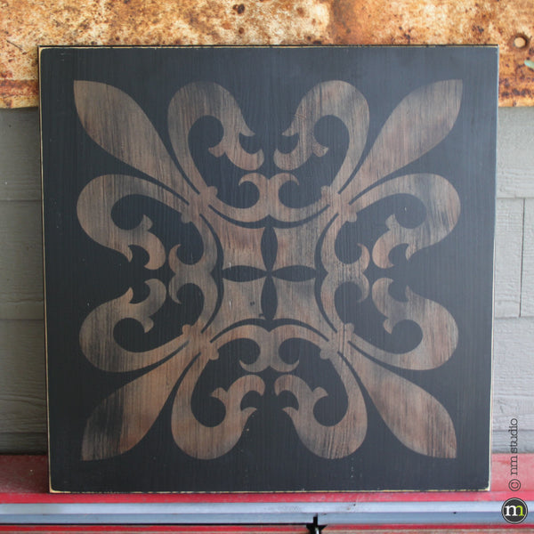 St Charles Square Fleur de lis Wood Sign Wall Art Custom Handmade