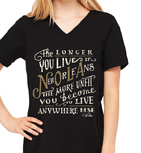 The Longer You Live in New Orleans Women's V-Neck Tee