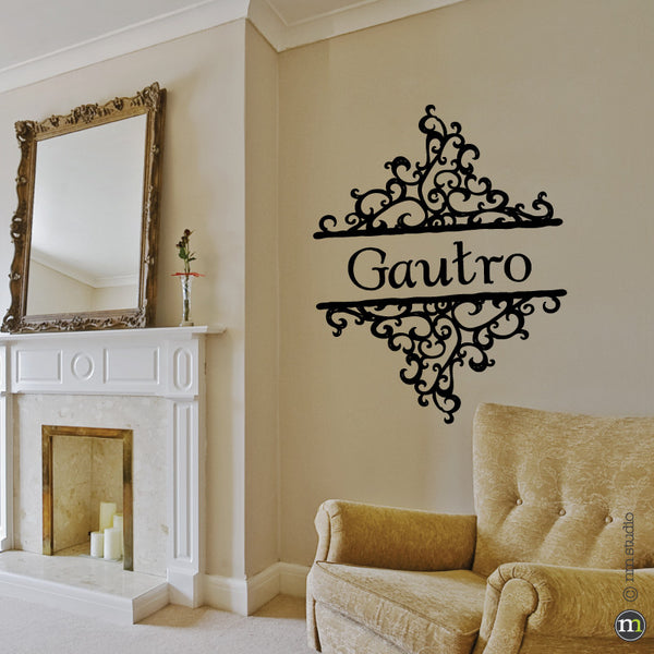 Decorative Ornate Personalized Family Name Wall Decal