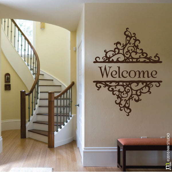 Welcome Swirl Decorative Ornate Entryway Wall Decal
