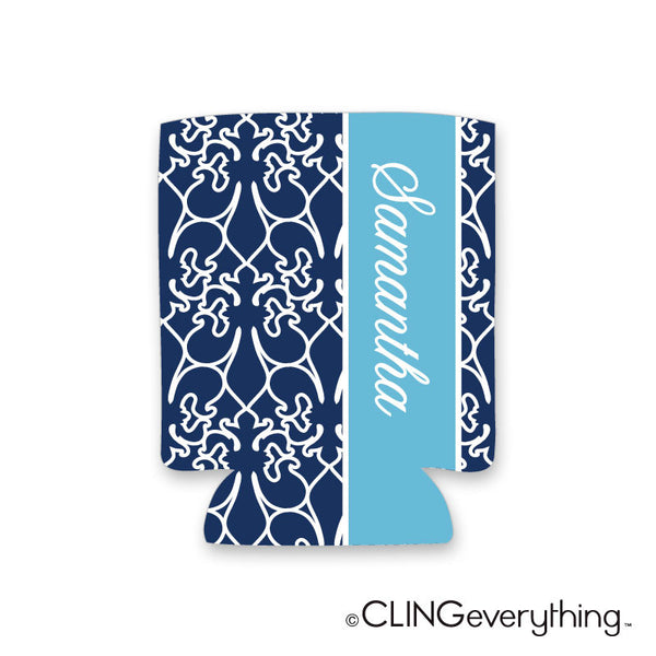 Alley Way Fleur De lis Koozie Personalized Monogram, Initial, Name