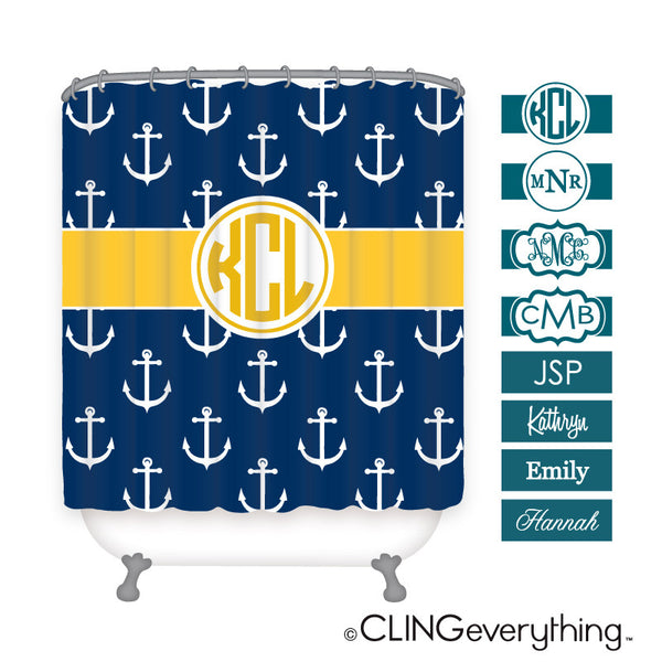 Anchor Shower Curtain Personalized Monogram, Initial, Name