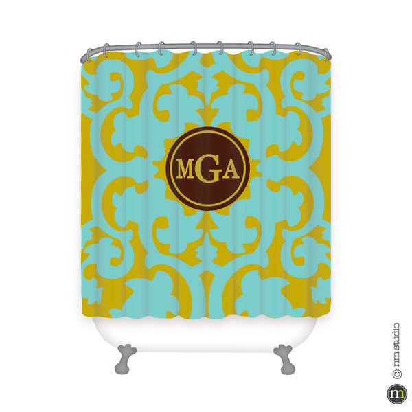 Bocage Circle Monogram Shower Curtain Personalized Monogram, Initial, Name