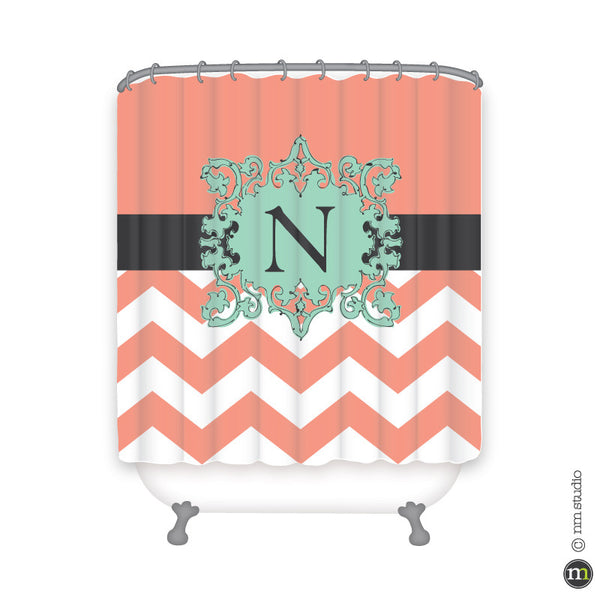 Chevron Crest Shower Curtain Personalized Monogram, Initial, Name