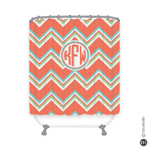 Chevron Circle Monogram Shower Curtain Personalized