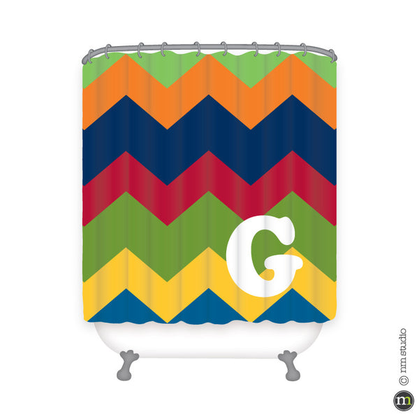 Chevron Initial Shower Curtain Personalized Initial Monogram