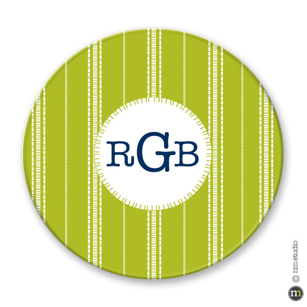Dash Stripe Plate Personalized Monogram, Initial, Name