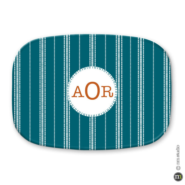 Dash Stripe Platter Personalized Monogram, Initial, Name