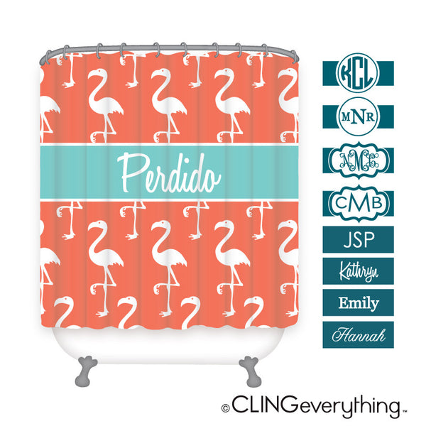 Flamingo Shower Curtain Personalized Monogram, Initial, Name