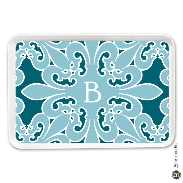 Fleur de lis Square Tray Personalized Monogram, Initial, Name