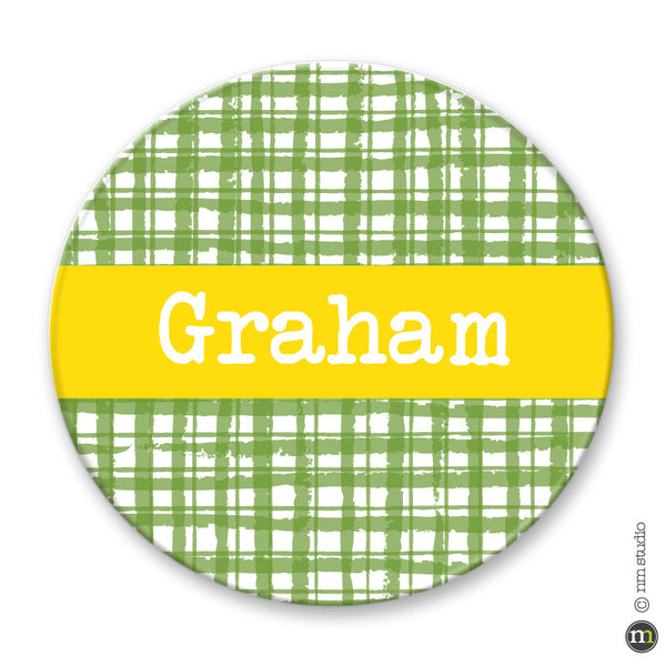 Gingham Plate Personalized Monogram, Initial, Name