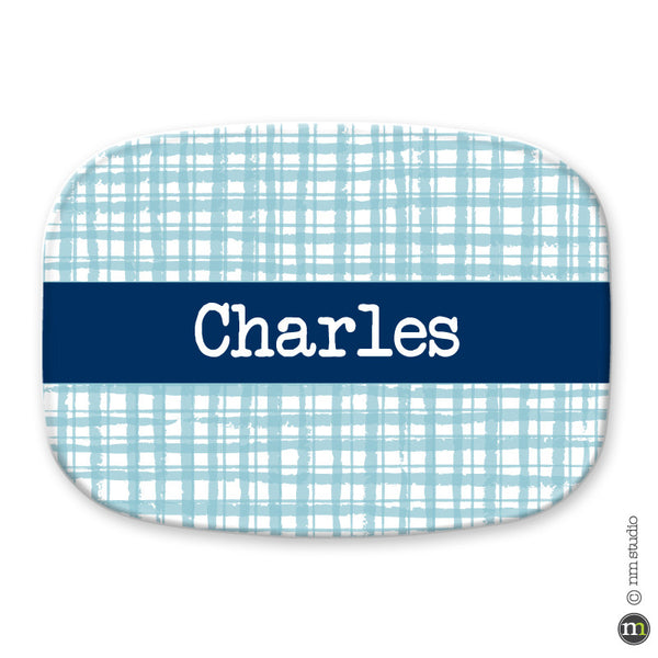 Gingham Platter Personalized Monogram, Initial, Name