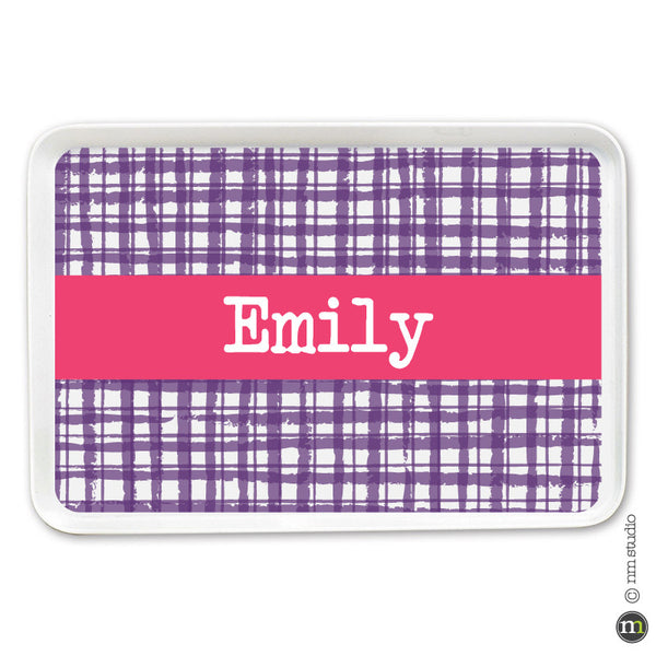 Gingham Tray Personalized Monogram, Initial, Name