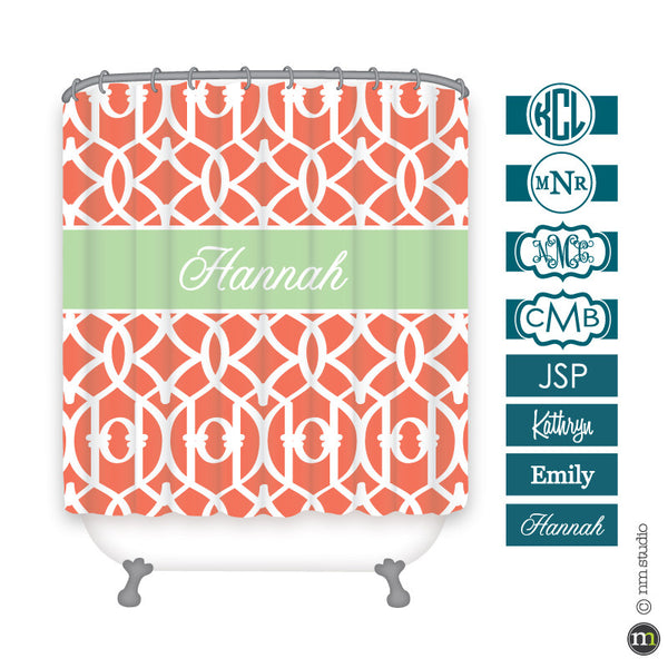 Lattice Shower Curtain Personalized Monogram, Initial, Name