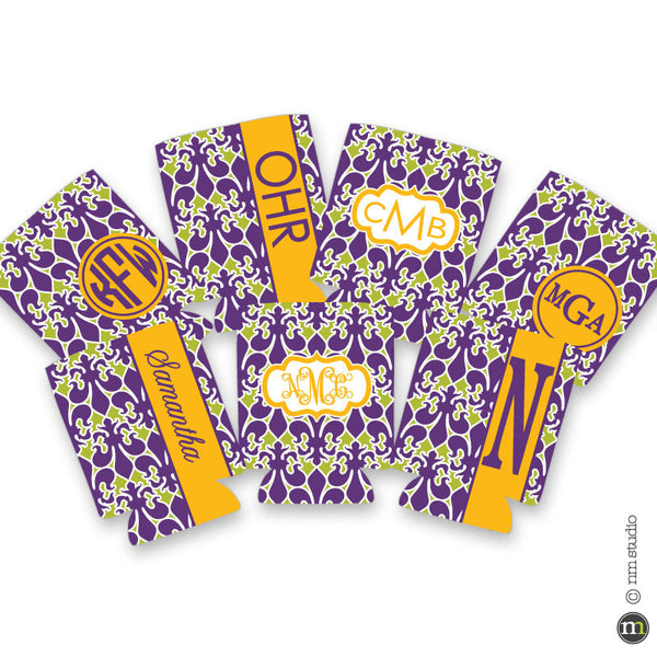 Mardi Gras Alley Way Fleur De Lis Personalized Monogram, Initial, Name Koozie