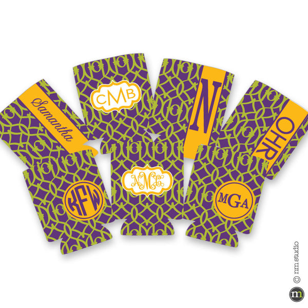 Mardi Gras Lattice Personalized Koozie Monogram, Initial, Name