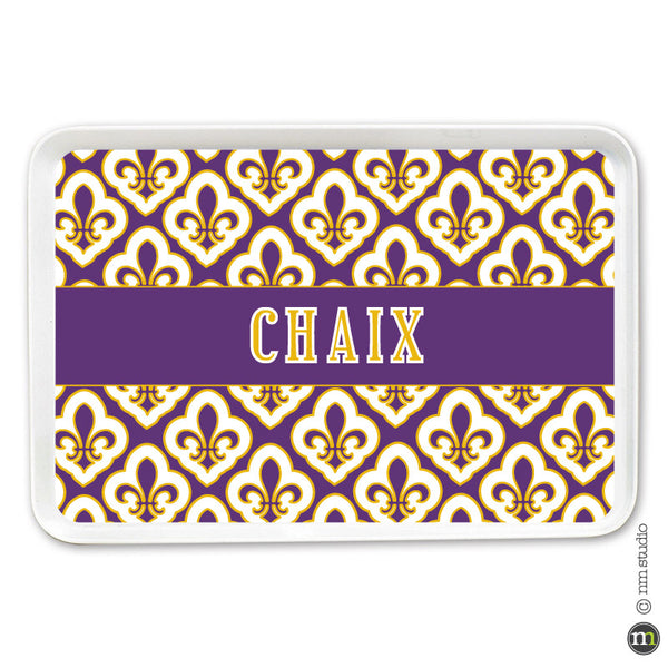 Mosaic Fleur de lis Tray Personalized Monogram, Initial, Name