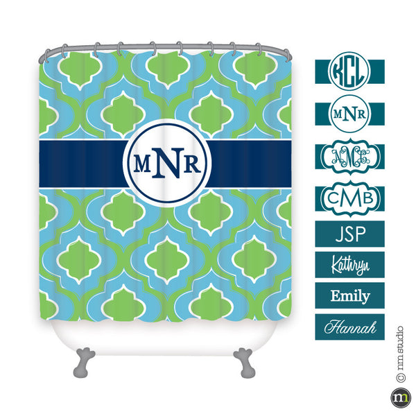 Ogee Shower Curtain Personalized Monogram, Initial, Name